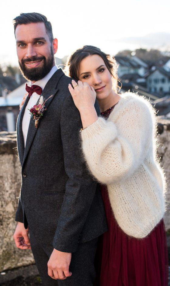 Couple de jeunes mariés à Aubonne